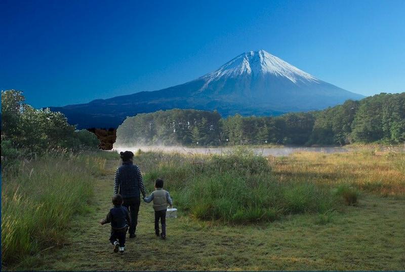 聖湖に富士山